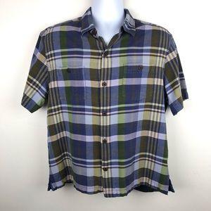 TOMMY BAHAMA 100% Silk Plaid Multi Color Shirt L